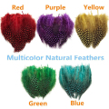 50Pcs Natural Spotted Guinea Fowl Feathers Craft Costume Millinery DIY Sewing Tools 5 Colors