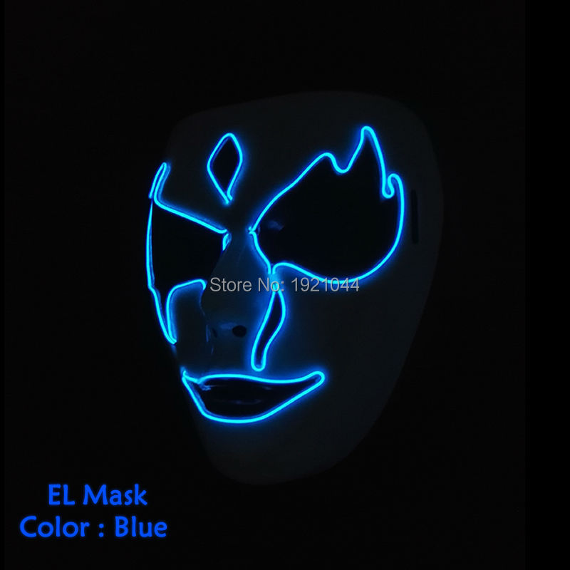 EL Mask YEAHUI Newest 2019 Party glowing Neon LED Festival DC-3V wire Supplies Night scary ghost Halloween terror 3
