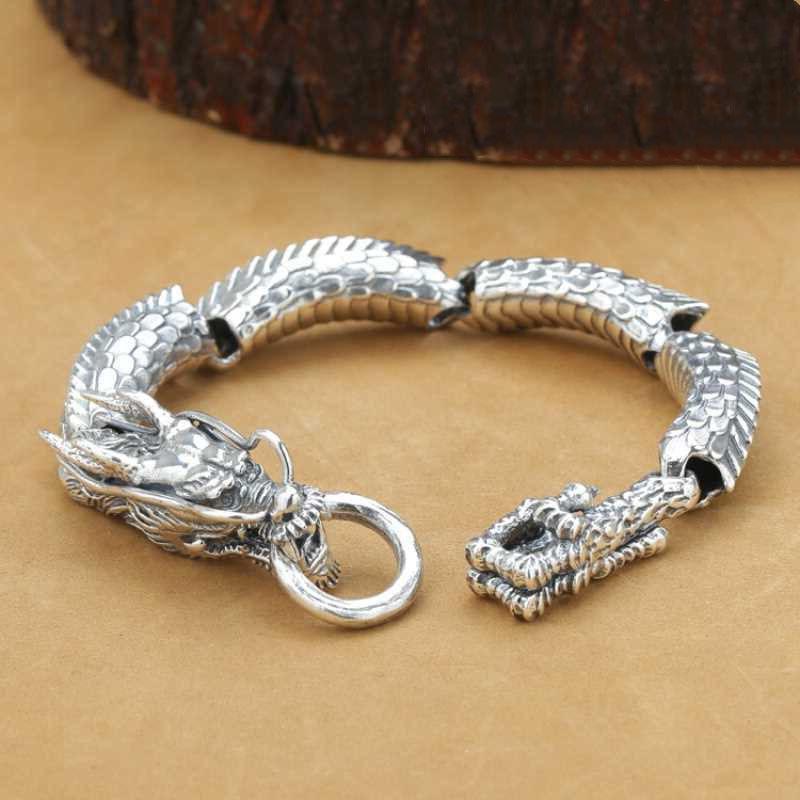 925 Sterling Silver Men Bracelet Fashion Handmade Personality Retro Thai Silver Joint Dragon Domineering Bracelet Fine Jewelry