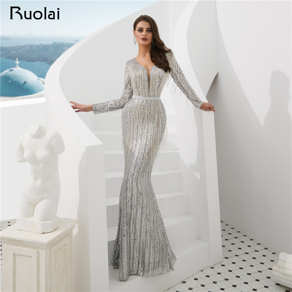 2019 Mermaid   Evening     Dress   Long Sleeves V-Neck Tassel Women   Evening   Gown Silver Prom   Dress   Vestido de Fietsa SN7