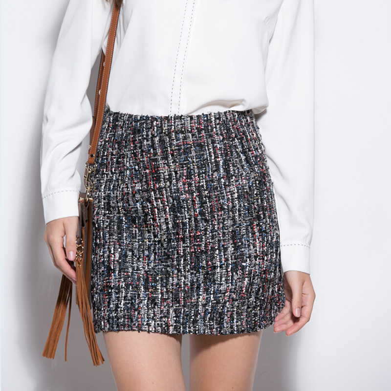 bf5dd890e Retro Sequin Tweed Wool Skirt Women Spring High Waist Slim Pencil Mini Skirt  Autumn Women's Casual Woolen Short Skirts-in Skirts from Women's Clothing &  ...