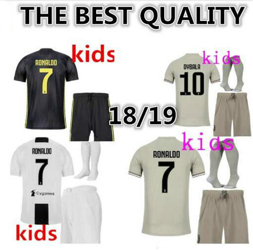 6502a045d 2018 Serie A patch Quality RONALDO JUVENTUSES kids kit+socks 18 19 Dybala  Home Away Third Shirt kit+sock-in T-Shirts from Men s Clothing on  Aliexpress.com ...