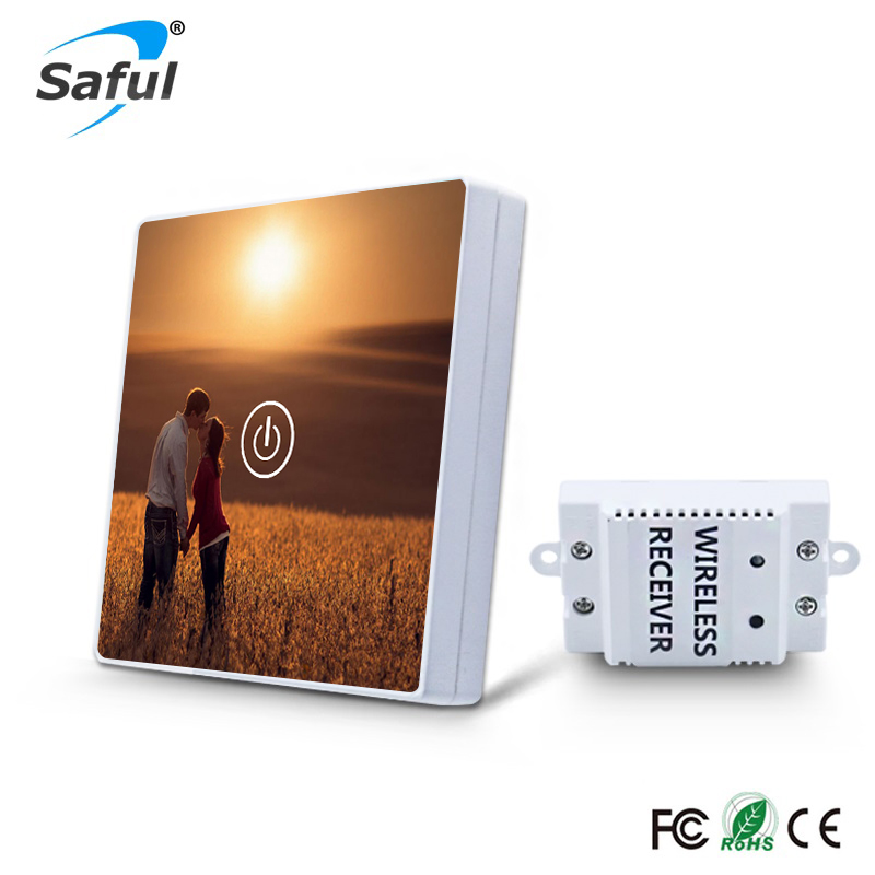 Saful Picture DIY Painting Wall Switch 1 Gang 1 Way Crystal Glass Switch Remote Wireless Touch Switch For Smart Home Light eu wireless remote touch switch 1 gang 1 way 220v rf 433mhz crystal glass panel wall light touch switch smart home y601