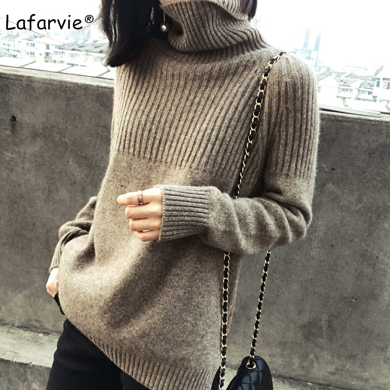 Lafarvie New Cashmere Wool Blended Turtleneck Sweater Women Autumn Winter Warm Long Sleeve Pullover Female Knitted Jumper S-XL
