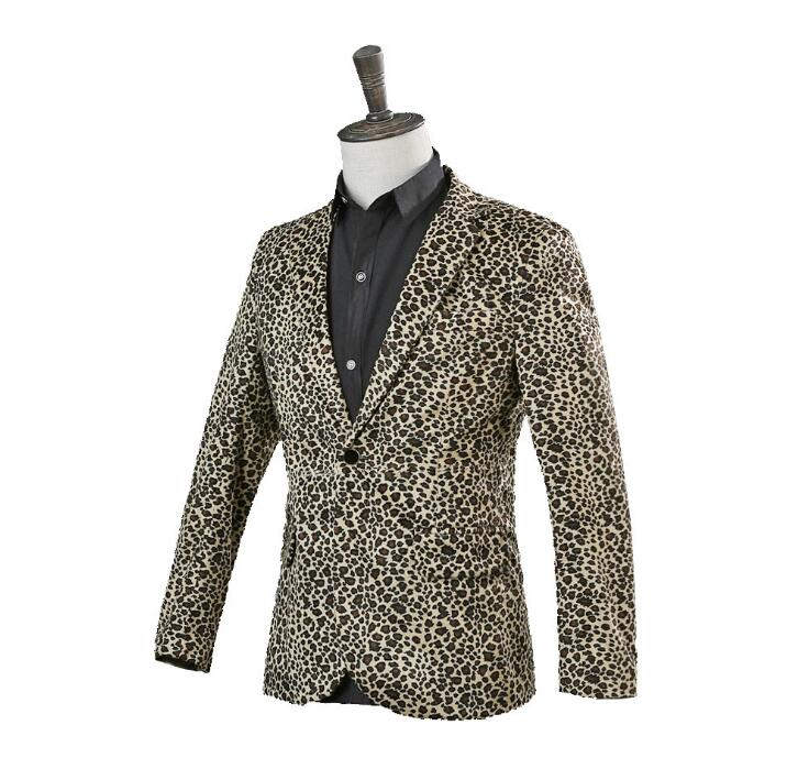 US $47.56 18% OFF|Singer star style dance stage clothing jackets men Leopard print suits fashion coat costume blazers mens formal dress yellow|Suits|
