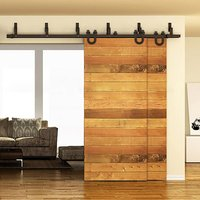 10FT 12FT 13FT 15FT 16FT Carbon Wall Mount Steel Black Rustic Sliding Barn Door Hardware Track