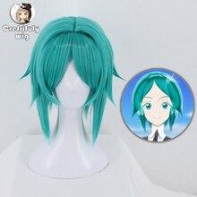 Anime Houseki no Kuni peruka do cosplay kraina lśniącego fosfophyllite syntetyczny kostium na halloween zielona krótka włosy