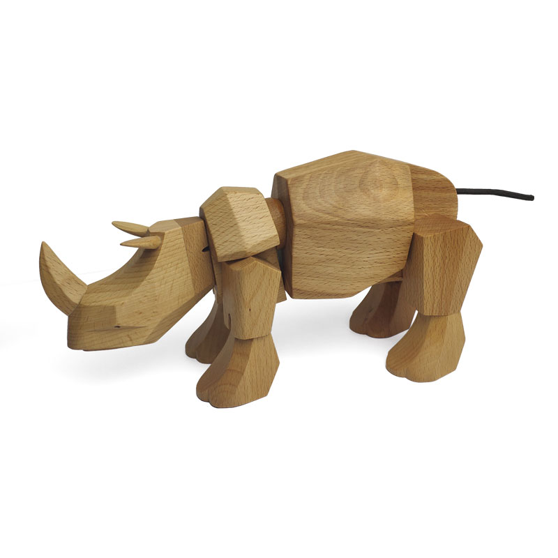 2018Newstyle Nordic solid wood creative animal Figurines rhinoceros puppet Toys Miniatures Desk Table Ornaments Decoration in Figurines Miniatures from Home Garden