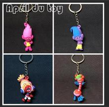 30pcs Movie Series Trolls Mini Pendant Model Figure Toy With Keychain KeyRing Great Gift For Kid