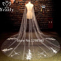 Real Long Lace Edge Cathedral Wedding Veil With Crystal White/Ivory Flowers Pearls Bridal Veils Veu de Noiva Longo WB65