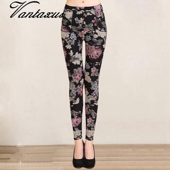 women autumn winter velvet casual pant floral printed black pencil leggings lady stretch slim fit warm pant skinny trousers Pants & Capris