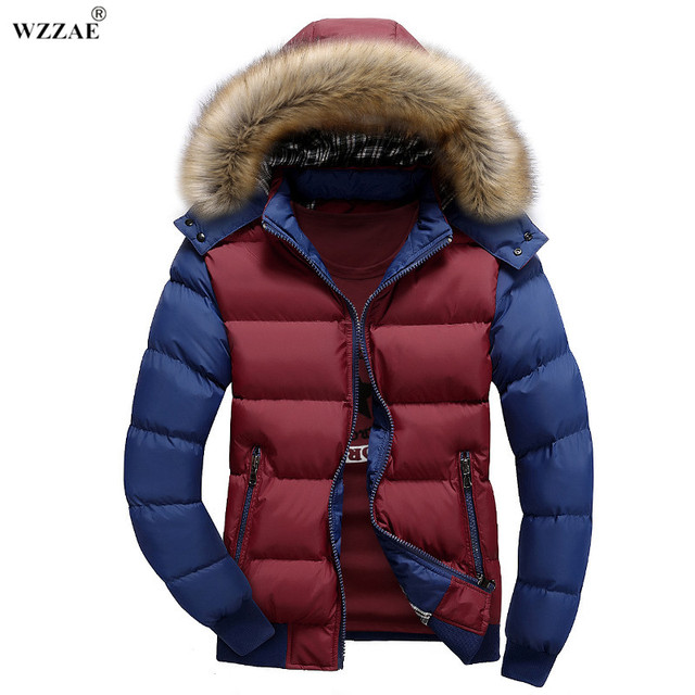 Flash Sale WZZAE 2018 New Contrast Color Hooded Design Men Parka M-3XL Casual & Fit Men's Winter Jacket Stand Collar Thick Man Down Jacket