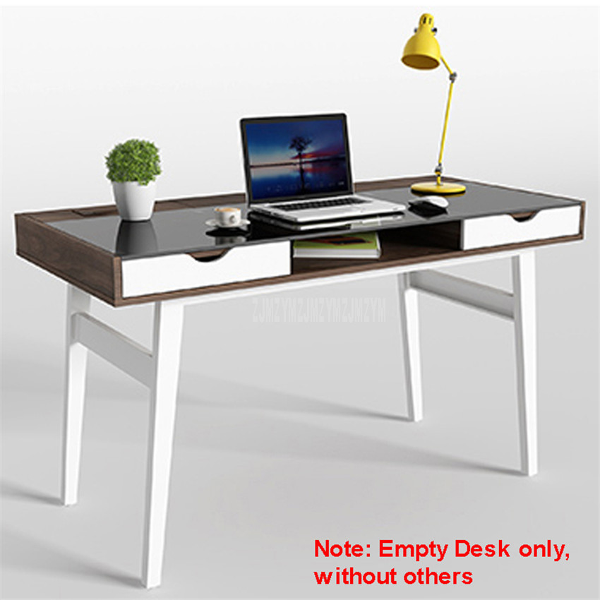 130*60cm Wood Desk Toughened Glass Desktop Household Notebook Benchtop Computer Table Lapdesk Modern Student Study Table 12129#