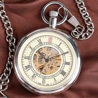 Classic Nurse Open Face Self Silver Winding Automatic Mechanical Men Women Pocket Watch Chain Retro Cool