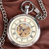 Classic Nurse Open Face Self Silver Winding Automatic Mechanical Men Women Pocket Watch Chain Retro Cool