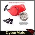 Alloy Red Pull Start Recoil Starter Flywheel For 2 Stroke 47cc 49cc Engine Parts Pocket Bike Mini ATV Quad Dirt Bike