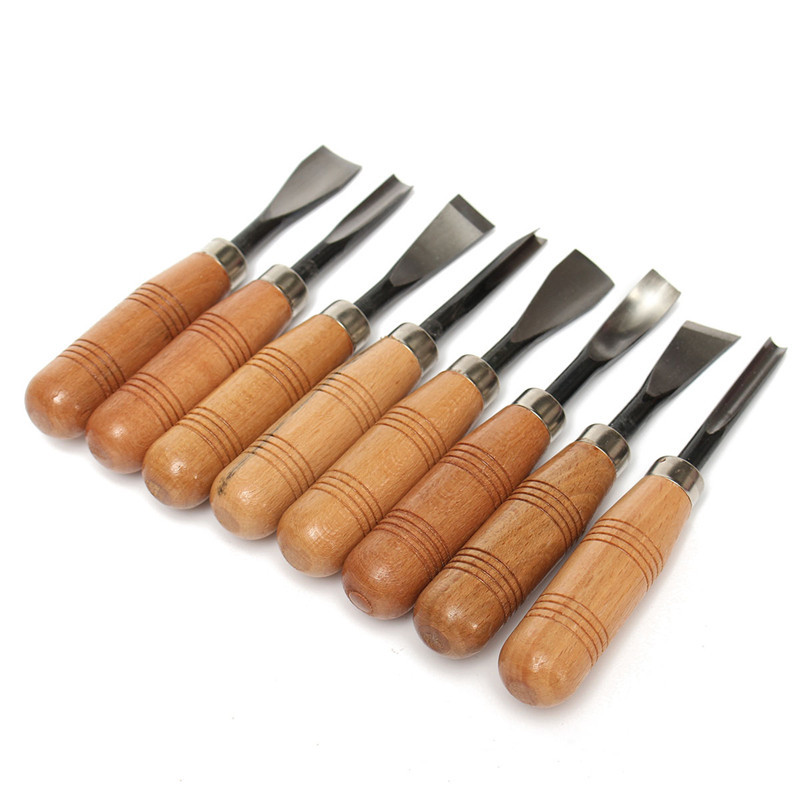 Free Shipping Big Size 8Pcs Woodpecker Dry Hand Wood Carving Tools Chip Detail Chisel Set Knives
