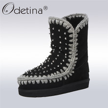 Odetina Fashion Genuine Leather Snow Boots For Women Ankle Boots Rivet Natural Wool Fur Lined Winter Warm Shoes Flat Big Size 43