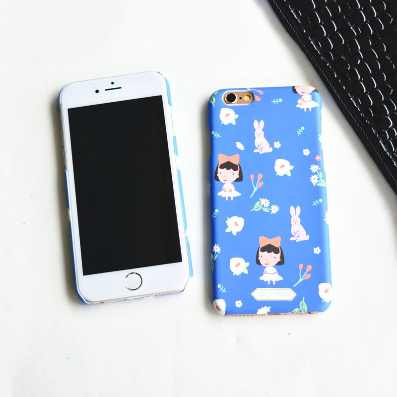 SC74 Beautiful Blue Girls Hard PC Phone Cases Covers For iPhone 5 5s 6 6s Plus SE Mobile Phone Shockproof Protective Back Shell