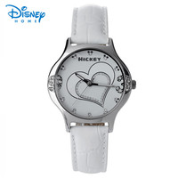 100 Genuine Disney Ladies Women Watch Top Luxury Brand Fashion White Quartz Watch Women Leather Female