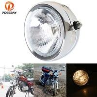 POSSBAY Chrome Motorcycle Retro Headlight Custom Metal Motocicleta Head Lamp High/Low Beam For Suzuki GN 125 Harley Honda BMW