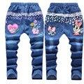 Розничная 6-12years рисунок дети джинсы мода девочка джинсы милые высокое качество детей брюки красивые свободного покроя девушки джинсы