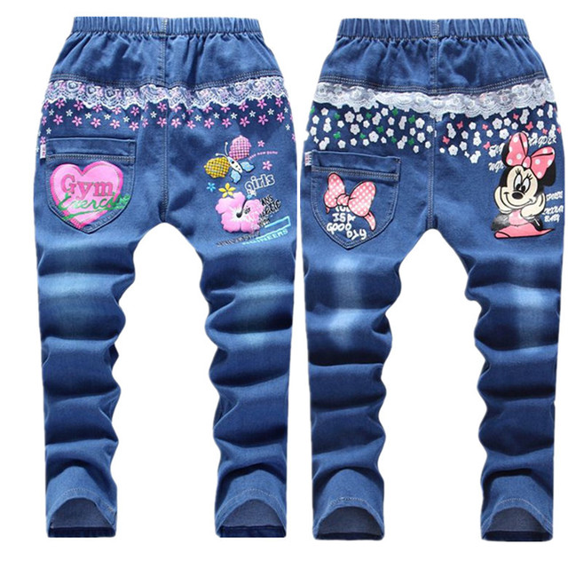 Retail 6-12years Cartoon Pattern Kids Jeans Fashion Baby Girl Jeans Cute High Quality Children Pants Handsome Casual Girls Jeans