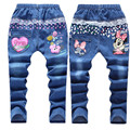 Varejo 6-12years padrão dos desenhos animados crianças calça Jeans moda bebê Jeans menina bonito de alta qualidade calças crianças belos ocasional meninas calças de brim