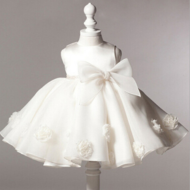 8a8e1a8599fc5 2018 Newborn White Dress For Baptism Sleeveless Baby Girl Lace Christening  Gown Dress Toddler First Birthday Party Infant BD229