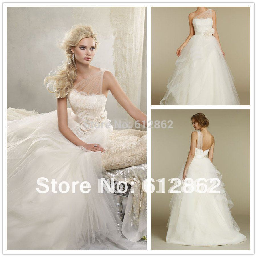Buy hot selling ball gown one shoulder for Spanish style wedding dresses