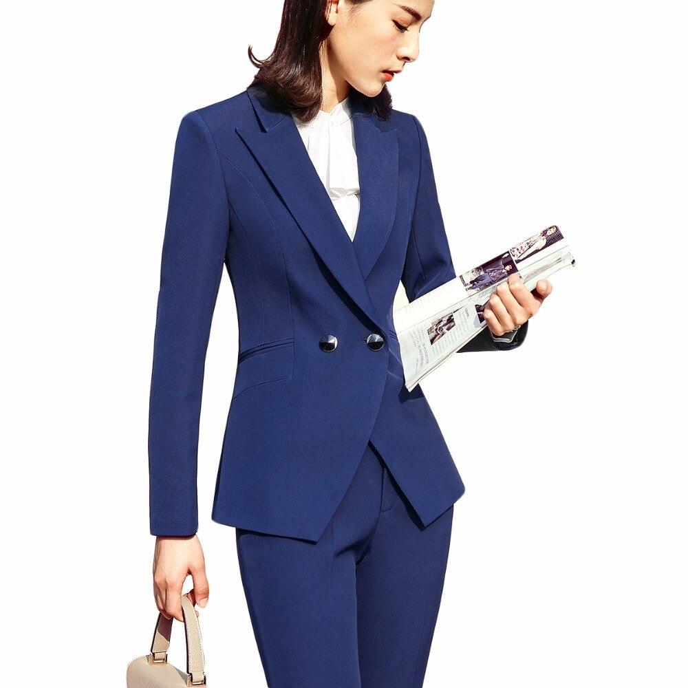 2 Pezzi Set Donne 2018 Vestito Con Pantaloni Di Affari Ufficio Della Signora Di Usura Del Lavoro A Due Pulsanti Formale Vestito Con Pantaloni Giacca Sportiva Con La Mutanda Delizioso Nel Gusto