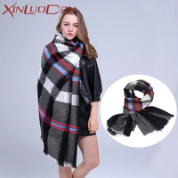 Women Winter Plaid Scarf Wool Girl Tube Scarf Designer Neck Warmer Poncho Scarf Men Bandana Designer