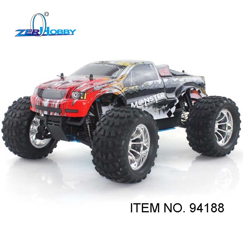 HSP Racing Car 1/10 Scale 4WD Off Road Nitro Monster Truck-Pivot Ball Suspension 18CXP Engine (ITEM NO. 94188 WITH EP STARTER) 02023 clutch bell double gears 19t 24t for rc hsp 1 10th 4wd on road off road car truck silver