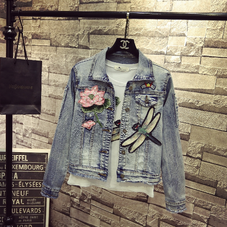 Casual Veste Printemps Paillettes Nouvelle Veste Rue Lady Denim Survêtement Libellule 2017 xRq8dYIq