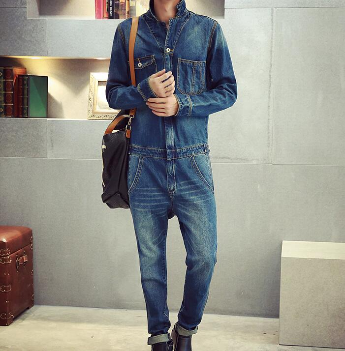 ФОТО Denim Jumpsuits Men Retro Garment Washed Jean Jumpsuit Long Sleeves & Turn Down Collar Distressed Jumpuit Male Free Shipping