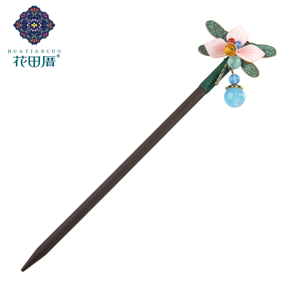 Ethnic Handmade Pink Petals Flower Verdigris Dragonfly Wooden Hair Sticks with Stone Dangle Hairpin for Women Headpiece FZ 18034 in Hair Jewelry from Jewelry Accessories