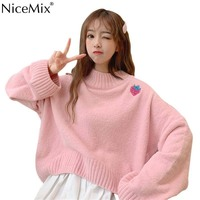 NiceMix Casual Embroidery Fresh Strawberry Sweater Women Pullovers Spring Knitwear Pink Jumpers Woman Clothes Pull Femme Hiver