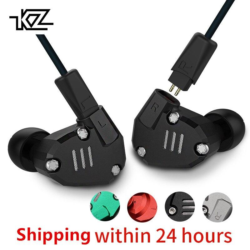 KZ ZS6 2DD + 2BA Hybride Dans L'écouteur D'oreille Monito de Course Sport bluetooth Écouteurs En Métal Écouteurs HIFI DJ Casque Intra-auriculaires