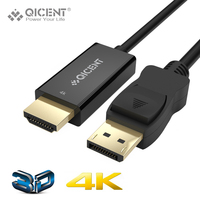 QICENT 6 6ft Gold Plated Displayport DP Male To HDMI Male Audio Support Full HD 080P