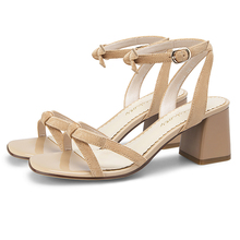 2019 Summer Black Nude Women Sandals 6CM Thick Chunky High Heels Femme Shoes 11813AKX2270