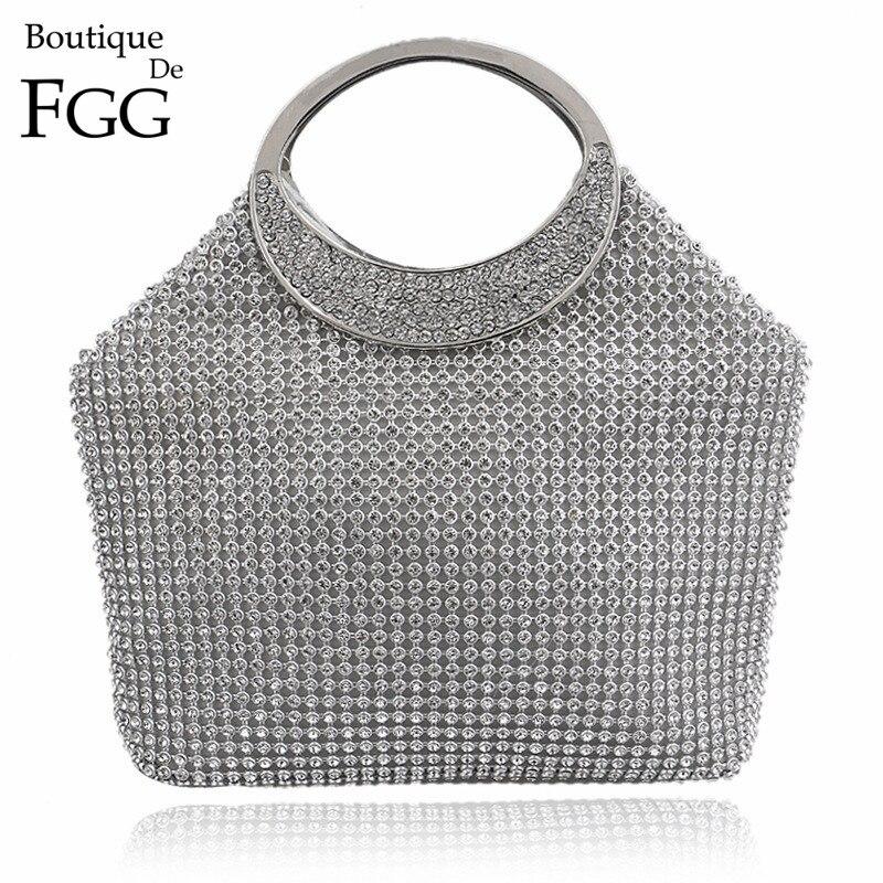 ФОТО Dazzling Women Silver Crystal Evening Totes Bags Bridal Diamond Handbags Purses Wedding Clutches Ladies Party Prom Clutch Bag