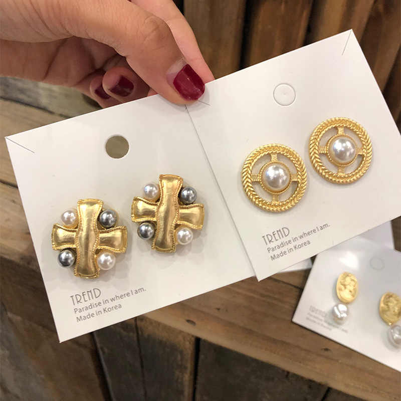 S925 Silver Needle Gray Simulated Pearl Matte Metal Cross Geometric Round Big Gold Stud Earrings For Women Vintage Earring