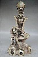 8,4 'коллекционный украшенный старый ручной работы тибетский гравировка серебром череп статуя Будды