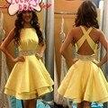 Robe de cóctel vestidos de coctel elegantes 2017 amarillo con cuentas espalda abierta corto mini summer dress prom dress vestidos de fiesta