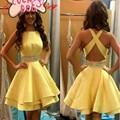 Robe de cocktail elegante vestidos de cocktail 2017 amarelo frisada as costas abertas curto mini verão dress prom dress vestidos de festa