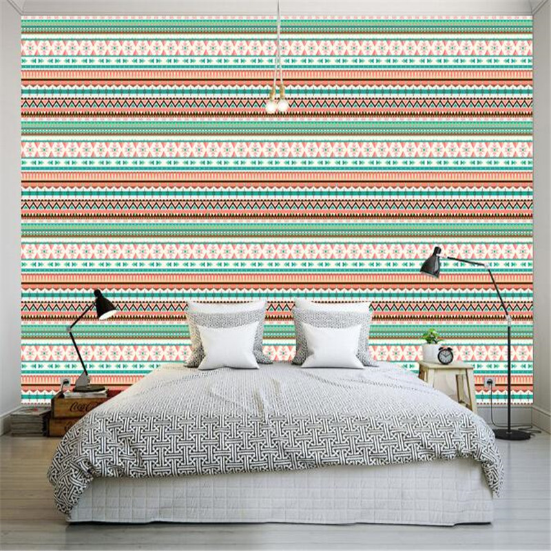 Custom Wallpapers Roll Vintage Indian Wall Paper Home Decor Simple Stripe Wall Paper American Style Living Room Wall Wallpaper