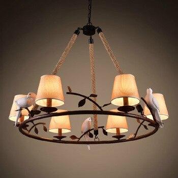 Retro loft Chim sợi dây sắt đèn mặt dây chuyền cổ điển đèn nhựa chim vải chụp đèn cho nhà bếp phòng ăn treo chiếu sáng