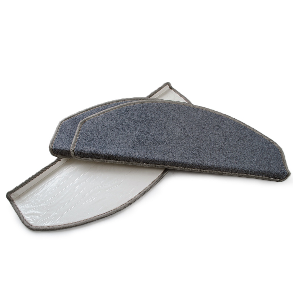 Yazi Self Adhesive Anti Slip Stairs Carpet Grey Brushed Plush Rug