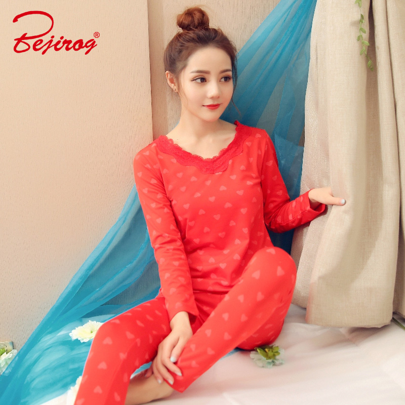 Bejirog   pajamas     set   for women V-neck lace sexy stitch lingerie sleepwear warm homewear female nightie pijamas suit Ladies tights