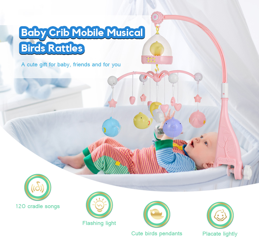 Bird Projector Musical Crib Mobile Bed Bell Baby Rattle Rotating Bracket Projecting Toys for 0-12 Months Newborn Kids Christenin